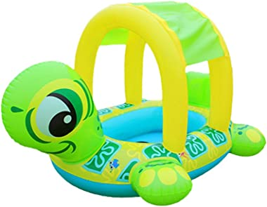 626 Baby Pool Float with Canopy Sunshade Roof Inflatable Swimming Ring Boat Infants Float Seat Car for Pool Water Fun Outdoor