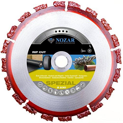 NOZAR Rip Cut Ø230 mm mit Bohrung 22,23 mm ( 6702164) Hartmetall-Trennscheibe für Holz inkl. Nägel, Hartholz, Dachpappe, Bitumenbahnen, Gummi, Kunststoff & dünne Bleche