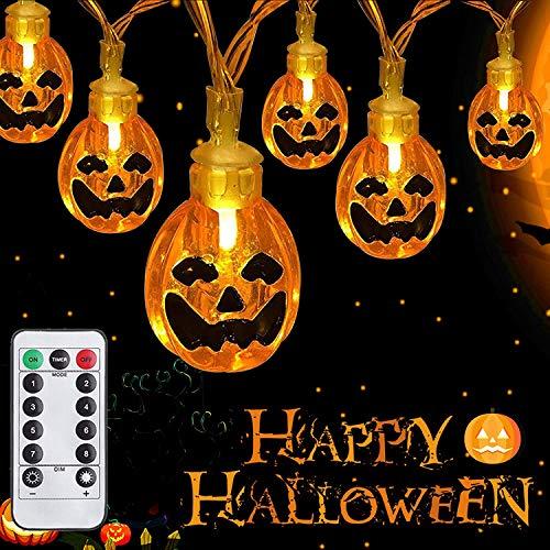 Halloween Deko Kürbis Lichterkette, 6M 30LED 3D Horror Pumpkin Lichter mit Fernbedienung, Außen/Innen Lichterkette Batterie Gruselig Halloween Deko Accessoires für Party Garten Herbstdeko - Warmweiß