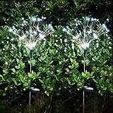 Luz Solar Fuegos Artificiales,120LED 8 modos intermitentes exterior jardin decoracion luces de hadas para Balcón Navidad(2pcs Blanco frio)