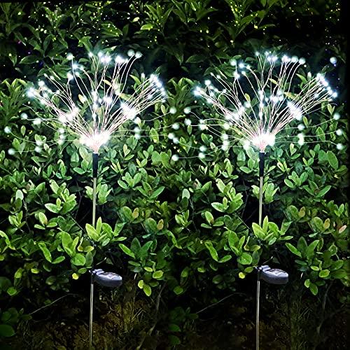 Luz Solar Fuegos Artificiales,120LED 8 modos DIY Decoración Solar para Jardines,IP65 Impermeable Luces Solares para El Jardín Para Pasarela Patio trasero(2pcs Blanco frio)