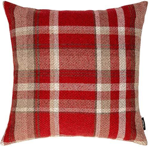 McAlister Textiles Heritage   Sofakissen mit Füllung in Rot   43 x 43 cm   gewobenes Tartan-Muster kariert   Deko gefülltes Kissen Sofa, Bett, Couch pflegeleichtes Wolle-Gefühl