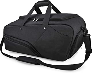 Gym Bag Sports Duffle Bag with Shoes Compartment Waterproof Large Travel Duffel Bags Weekender Overnight Bag for Men Women 45L Black