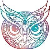 EW Designs Beautiful Rainbow Ombre Henna Pattern Owl Drawing Vinyl Decal Bumper Sticker (8' Wide)