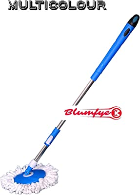 Blumfye Spin Mop Broom Handle Stick with Microfiber Head Refill Stainless Steel Pole for 360 Degree Floor Cleaning Mop (Random Colour)