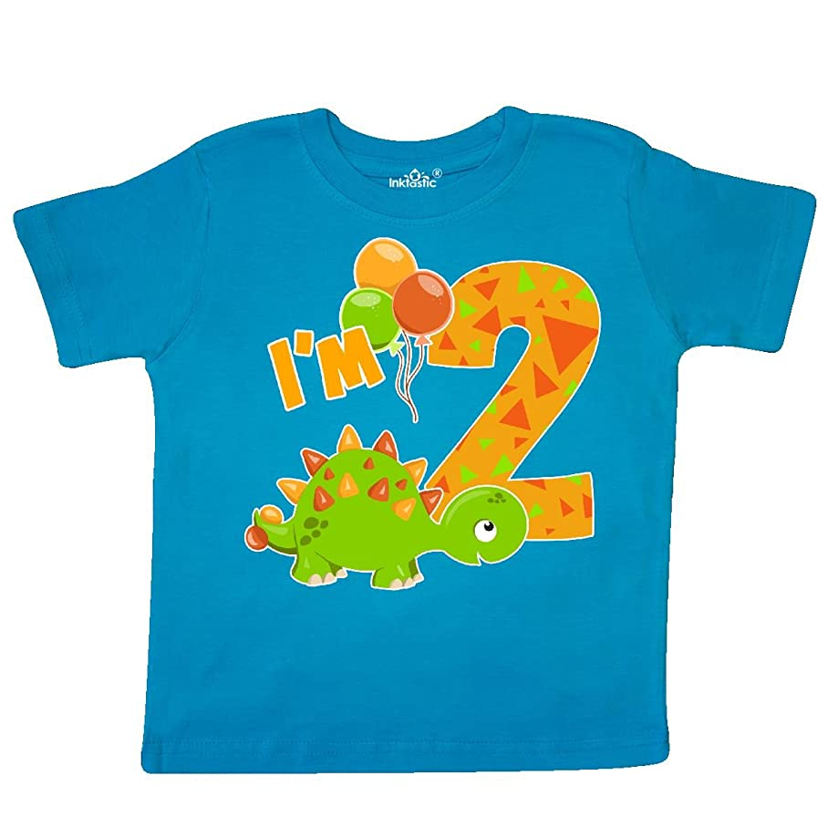 inktastic - Happy Dinosaur Second Birthday-Green Toddler T-Shirt 2e78f