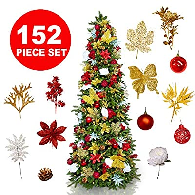 Easy Treezy Christmas Ornaments Set, 150 Piece Seasonal Holiday Decor Decoration Sets for Trees, Best Xmas Tree Decorations and Ornaments Balls