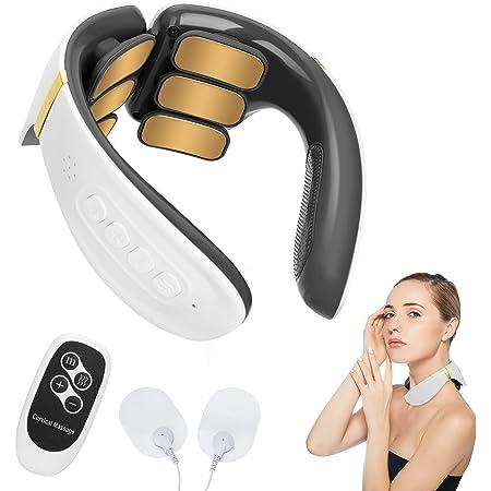 Komake masseur cervical, masseur de cou portable intelligent avec machine à impulsions électriques chauffantes pour soulager la douleur des vertèbres cervicales, cadeaux pour parents et amis