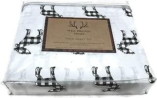 Well Dressed Home Moose Elk Black White Plaid Check Twin Sheet Set