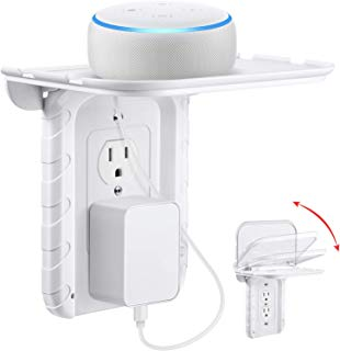 Frienda Foldable Outlet Shelf, Bulit in Cable Channel, Phone Stand Holder, for Hidden Cord and Extra Custom Short Cord Great for Google Home, DOT, Nest, Security Camera, Smart Speakers (Duplex Outlet)