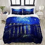 SnowXXL Bedding Juego de Funda de Edredón,Vincent Van Gogh Noche Estrellada sobre Las Pinturas del ródano,Microfibra Funda de Nórdico y Fundas de Almohada - 140 x 200cm