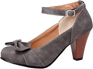 Nonbrand TAONEEF Women Classic High Heel Court Shoes Ankle Strap