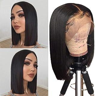 Human Hair Lace Front 13x4 Wigs Bob 10 Inch 130 Density Brazilian Virgin Human Hair Short Bob Wigs Straight Hair Natural C...