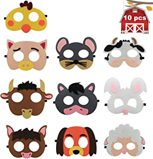 10 Pack Farm Animal Party Masks Barnyard Animal Felt Masks for Petting Zoo Farmhouse Theme Birthday Party Favors Kids Costumes Dress-Up Party Supplies