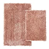 Comfy Soft 2 Piece Butter Chenille Bath Mat Rug Set 31x20 and 24x16 Inch, Shiny Noodle Bathroom Mats Rugs with Non Slip Backing, Super Water Absorbent Machine Washable, Pink