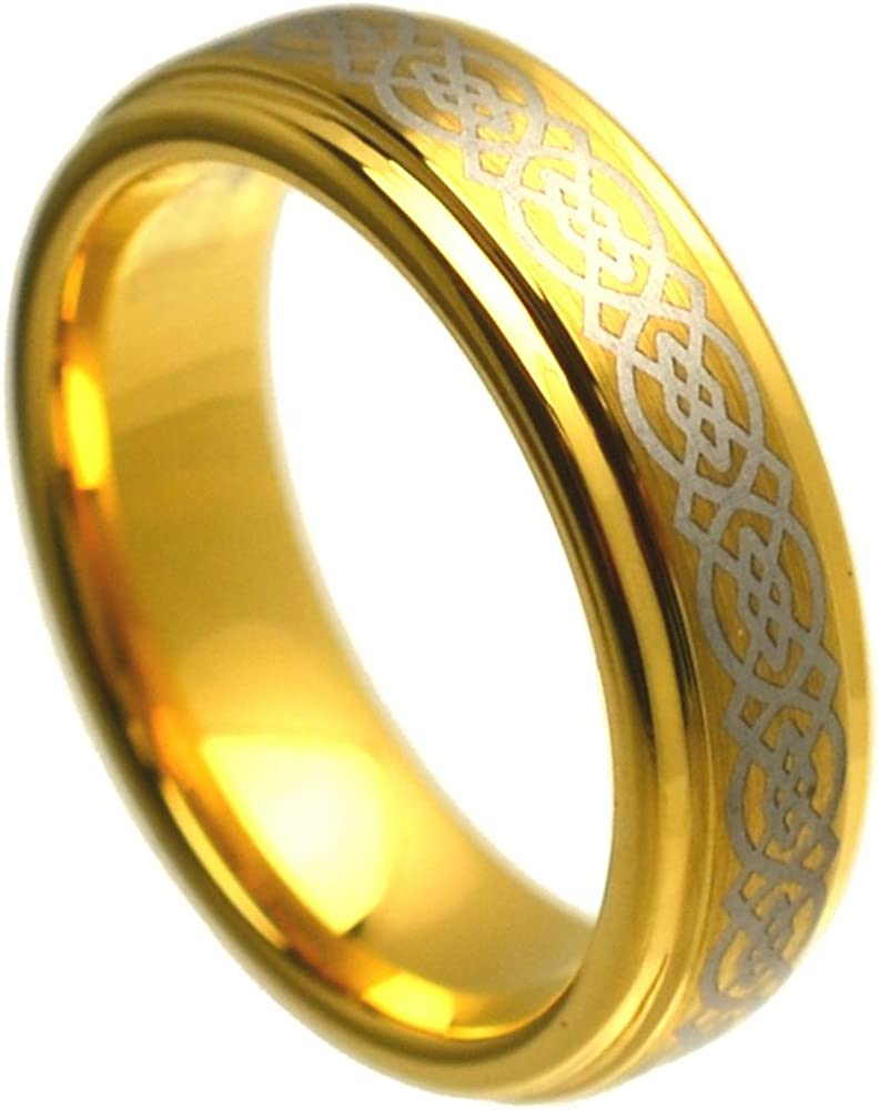 6mm Tungsten Carbide Gold Plated Celtic excellence Brushed Popular product Patt with Center