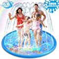 Sprinkler & Splash Pad for Kids - Big 68'' Inflatable blow up pool Sprinkle Mat, Toddler Outdoor toys, Outside kiddie inflatable Water Swimming Pool Toys for Wading and Learning for Babies Boys Girls