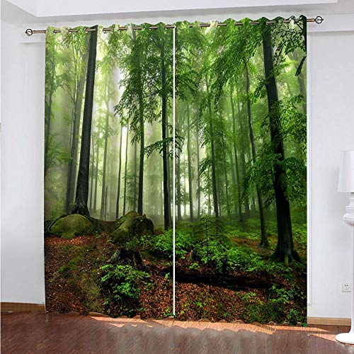 MENGBB Blackout Curtain for Kids Girls Microfiber 110x102 inch Green jungle natural scenery Thermal Insulated 95% Blackout Kitchen Bedroom Living Room Window Eyelet Curtains