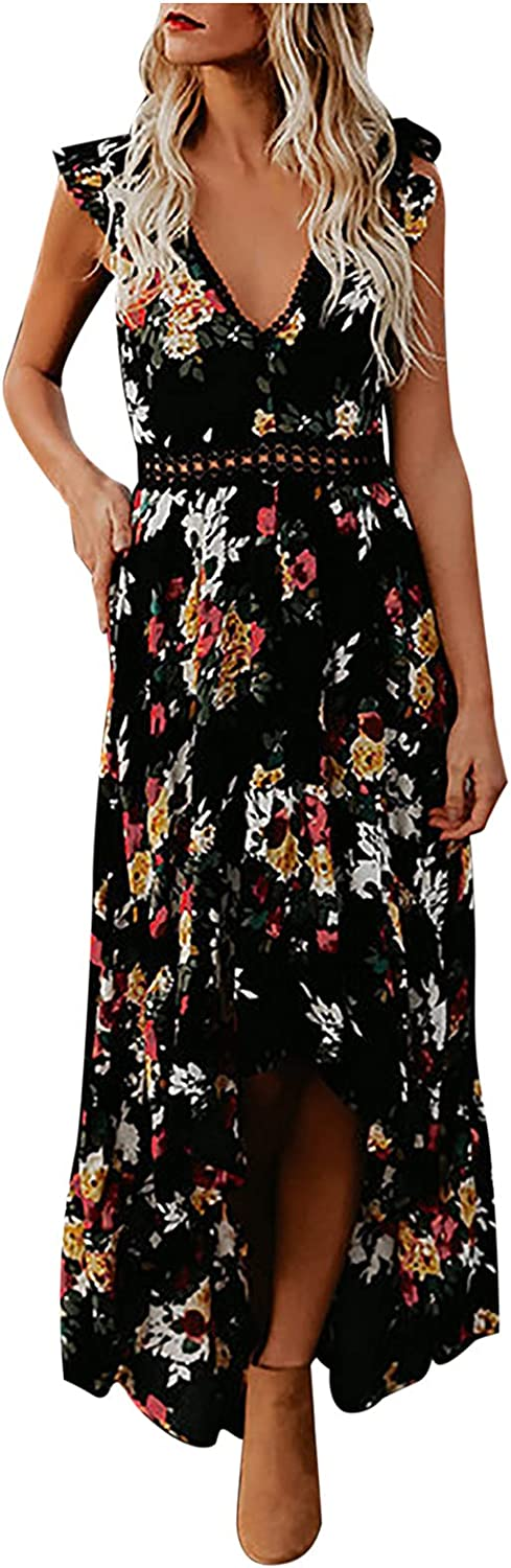 Wedding Guest Dresses for Women Sexy Cutout Backless Floral Ruffle Sleeveless Fashion Party Cocktail Long Dress