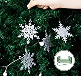 36 Stück Schneeflocken Weihnachten Deko Anhänger, Kunststoff Weihnachtsbaumschmuck Set Schneeflockendeko für Weihnachtsbaum Glitzer Christbaumschmuck Weiß