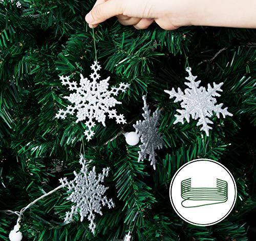 Agoer 36pcs Ornamenti di Fiocco di Neve, Decorazioni Bianco Glitter in Plastica dell'Albero per Natale, con Corda e Gancio di S, 10 X 10 cm