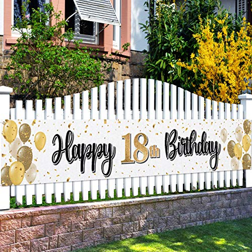 LASKYER Happy 18th Birthday Yard Sign Banner - Cheers to Eighteen Years Old Birthday Home Outdoor Yard Sign Backdrop,18th Birthday Party Decorations.(9.8ft x 1.6ft)