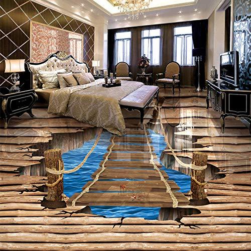 Nomte Moderno Creativo 3D Estéreo Madera Puente Foto Mural Papel Pintado Etiqueta Dormitorio Estudio Sala 3D Piso Azulejo Pvc Vinilo Decoración Del Hogar-350X256Cm