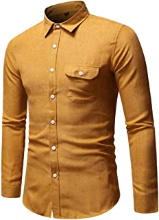 Men'S Shirt Long-Sleeved Classic Solid Color Chest Pockets Tops Easy-Iron Slim-Fit Kent Collar Shirt Autumn Light Breathab...