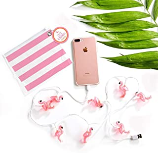 Two's Company Flamingo Light Up USB Charger in Vinyl Pouch Incl 10 Lights