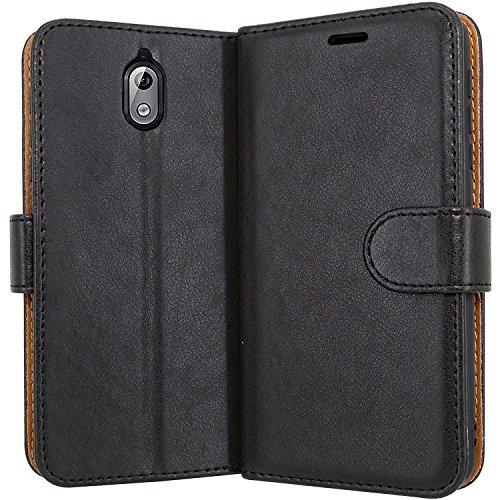 """Case Collection Funda de Cuero para Nokia 3.1 (5,2"""") Estilo Cartera con Tapa abatible y Ranuras para Dinero y Tarjeta de crédito para Nokia 3.1"""