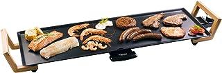 Bestron Plancha/Plaque de cuisson Teppanyaki XL au design asiatique, Avec poignées en bambou, Asia Lounge, 1 800 W, Noire