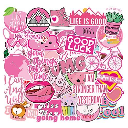 Cute Laptop Stickers for VSCO Girls[40PCS] - Pink Cartoon Sticker for Water Bottle Hydro Flask Macbook iPhone Phone Case iPad Bike Bumper Skateboard Luggage Bomb Waterproof DIY Decoration Gift Sticker