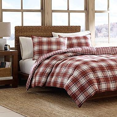 Eddie Bauer Edgewood Plaid Down Alternative Reversible Comforter Set, King, Red