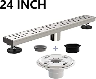 Ushower 24 Inch Rectangular Linear Drain for Shower with Shower Drain Base Flange, Brick Grate Cover Linear Floor Drain Brushed Nickel, Shower Bathroom Drain with Leveling Feet, Threaded Adapter