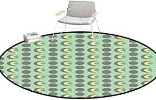 Kitchen Carpet Retro Nested Circles Dots Half Moon Shapes Geometrical Tile Pattern Mint Green Sage Green Light Yellow Rugs for entryway Round 3'Diameter