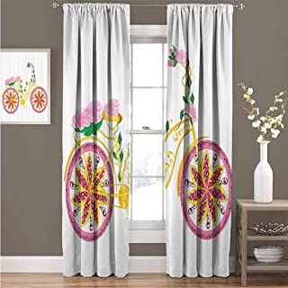 Bicycle Decor Premium blackout curtains Fantasy Bike with Exotic Swirling Floral Detail on the Seat and Tires Hippie Life Image Kindergarten noise reduction curtains W100 x L84 Inch Pink Yellow