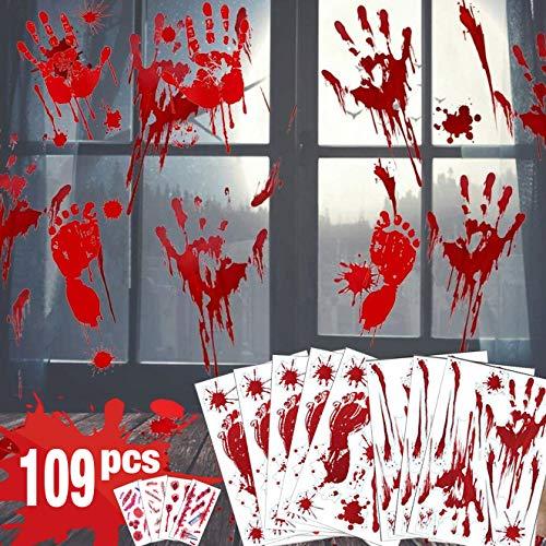 Decoraciones de Halloween de huella de mano sangrienta - 109 PCS Adhesivos de ventana de Halloween, tatuajes, Adhesivos de ventana espeluznantes para decoraciones de fiesta de Halloween