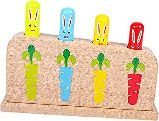 yotijay Wooden Rabbit Montessori Games Preschool Educational Learning Toys for 1 2 3 Years Baby Toddlers Kids Boys Girls