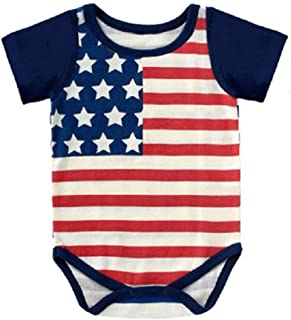 4th of July Baby Boy Girl Bodysuit Shirt Outfit American Flag Romper Jumpsuit Infant Kids Patriotic Clothing
