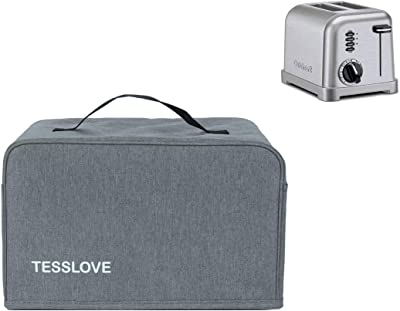 TESSLOVE toaster Dust Cover Compatible with Cuisinart 2 Slice Toaster, with 2 Pockets hold Jam Spreader Knife & Toaster Tongs, prevent from water Dust and Fingerprint