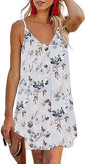 Ailunsnika Womens Summer Sundresses Spaghetti Strap Casual Mini Dress Buttoned Slip Cami Dresses