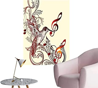 Alexandear Hummingbirds Decorations Wall Stickers Flying Bird and Music Notes Clef Five Line Staff Musical Creative Artistic Ornate Mural Blackboard DIY White W32 x H48