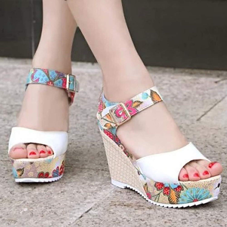 IWlxz Women's Faux Leather Spring Summer Comfort Sandals Wedge Heel Peep Toe Buckle Beige Fuchsia bluee