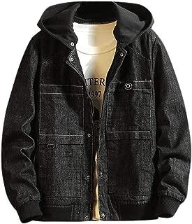 Men's Solid Color Denim Jacket Hooded Jacket Long Sleeve Top Casual Autumn&Winter Jacket Hoodies Sweatshirt Outwear Coat