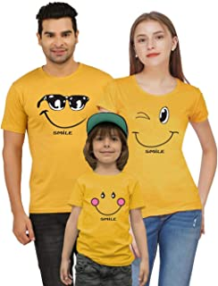 212dcaaa1 Jopo Smiling Family Matching Cotton T-Shirts for Mom, Dad and Kid (Mustard