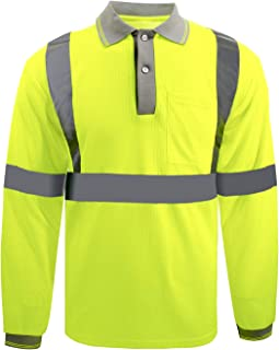 Safety Long sleeve T-shirt Reflective stripes Safety Hi-vis Yellow knitted shirt Bright Construction Workwear for men and women.Yellow Meets ANSI/ISEA Standards. (Large)