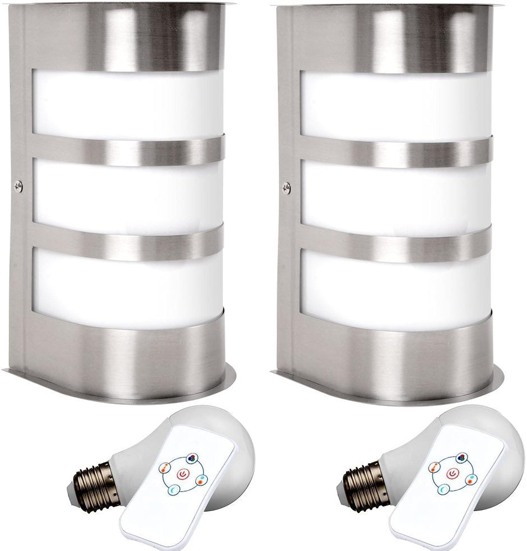 2er Set Haus Tür Leuchte Fassaden Lampe Farbwechsel im Set inklusive RGB LED Leuchtmittel
