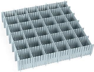 O-Kinee Séparateur tiroir, 16 Pièces Réglable Grille Tiroir Diviseurs, Organisateur de tiroir, pour sous-Vêtements Chausse...