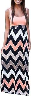 Très Chic Mailanda Sommerkleid Damen Partykleid Lang Chiffon High Waist Striped Sleeveless Beach Kleid Elegant