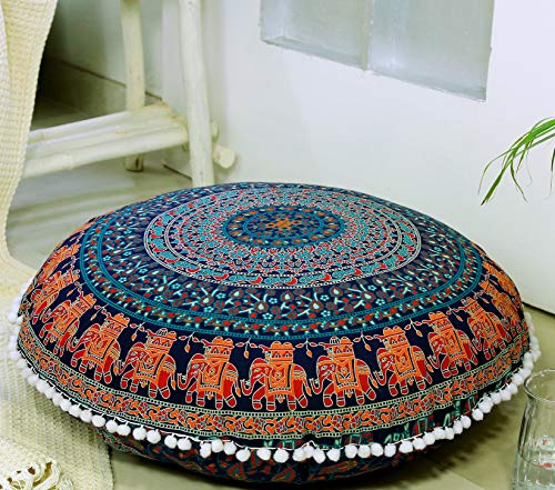 Popular Handicrafts Large Hippie Mandala Floor Pillow Cover - Cushion Cover - Pouf Cover Round Bohemian Yoga Decor Floor Cushion Case- 32' Blue